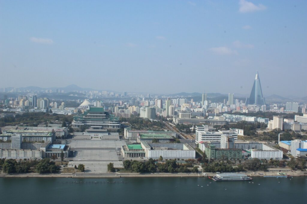 Skyline view from the Juche tower in Pyongyang, North Korea