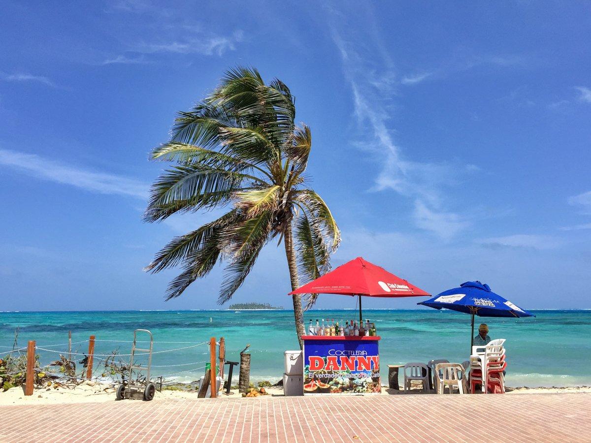Beach bar on San Andres island