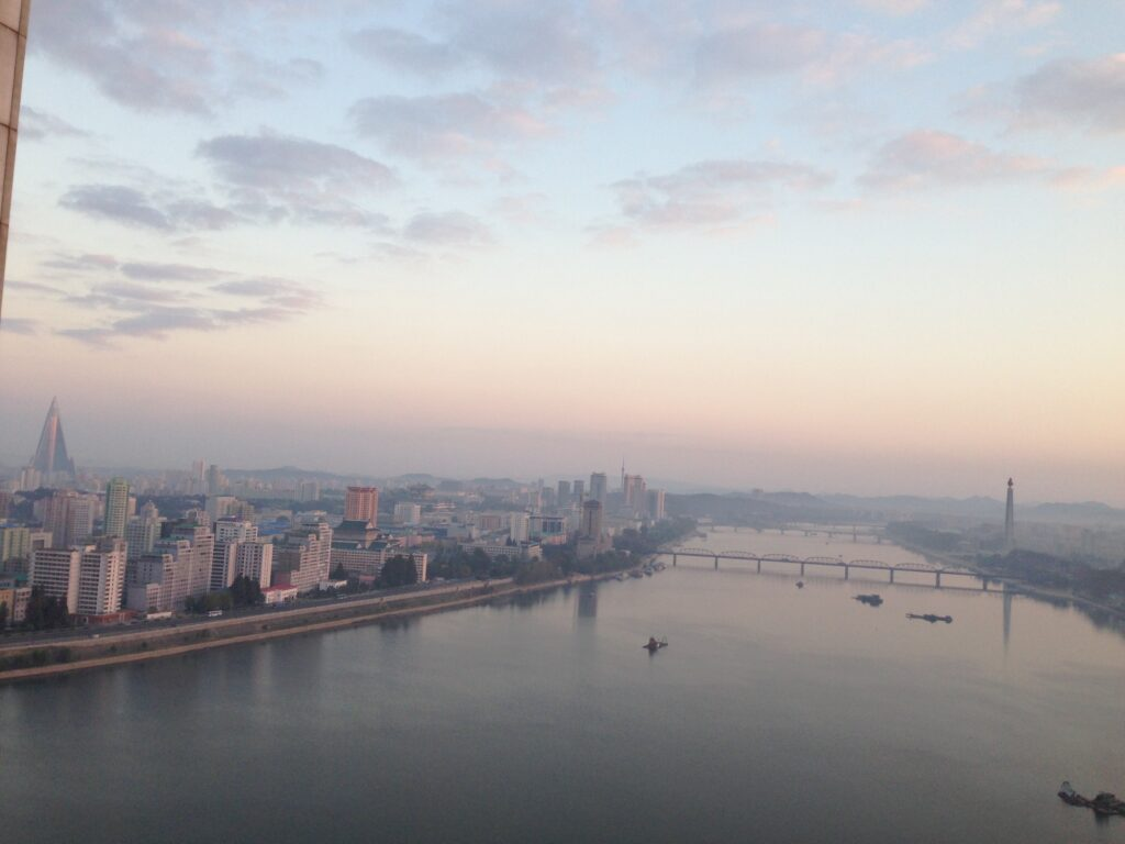 View of Pyongyang from hotel room