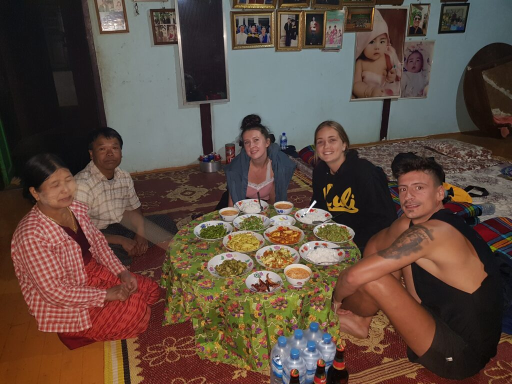 Dinner with locals in Myanmar