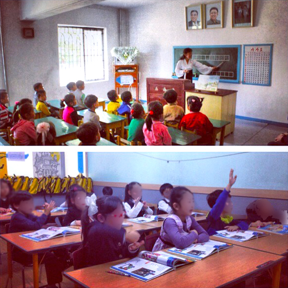 North Korean Kindergarten class in Napho (top photo), and South Korean class (bottom photo)