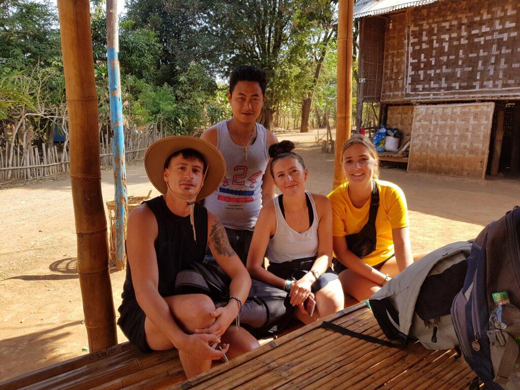Author (left) and other trekkers in Myanmar