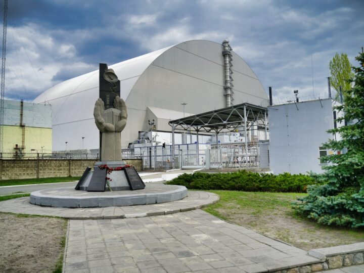 Sarcophagus over Unit 4 reactor at Chernobyl