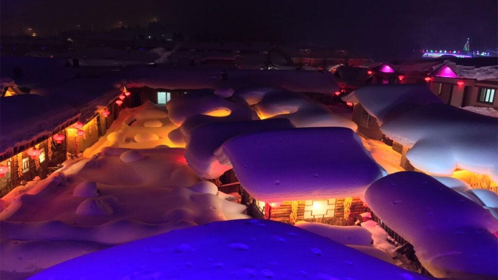 China Snow Town at night