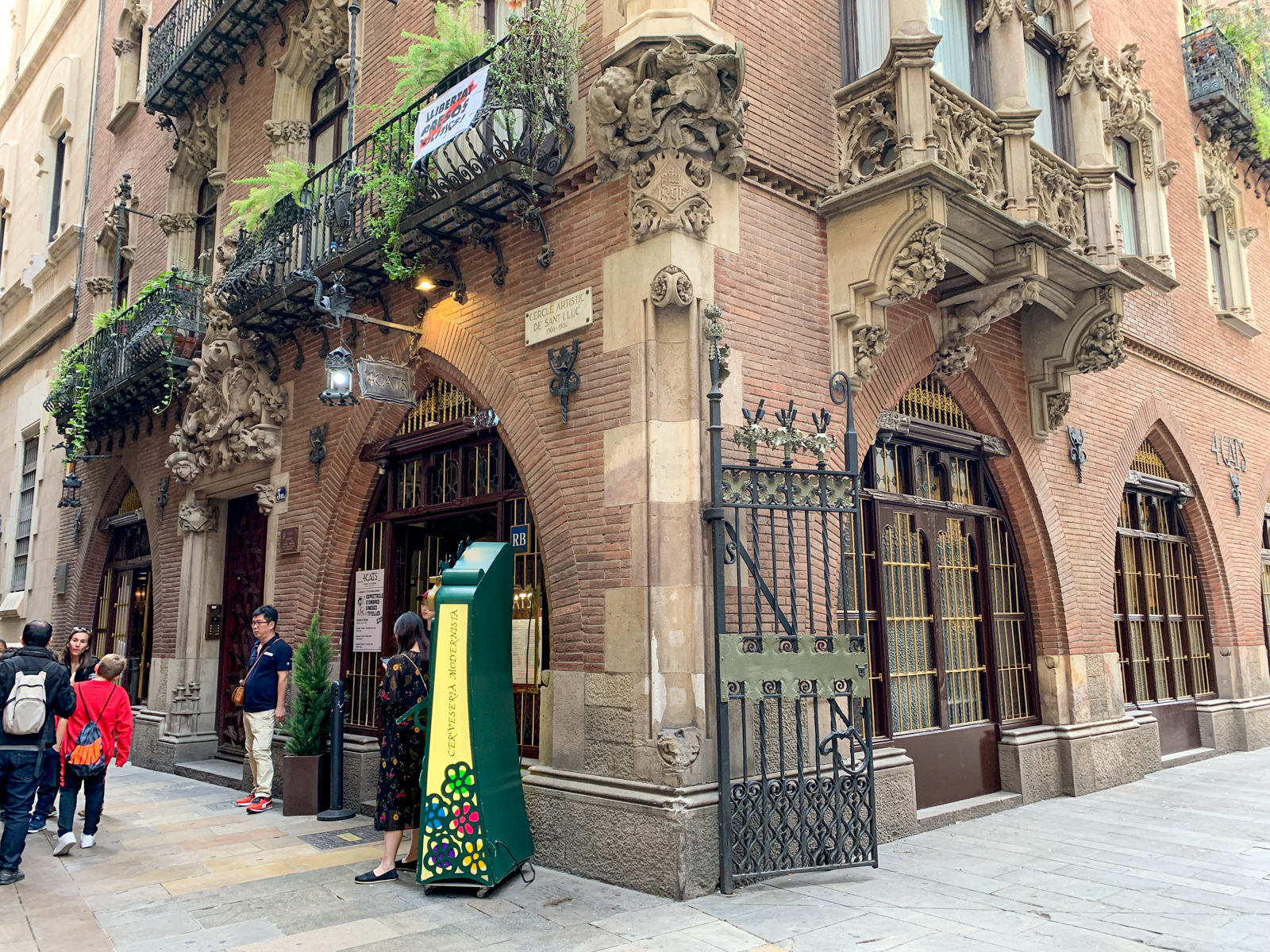 Outside Els 4Gats restaurant in Barcelona's Gothic Quarter