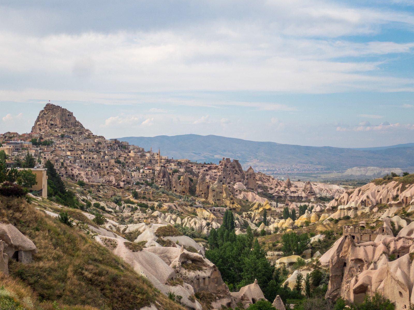 Rock castle at Uchisar (far left)