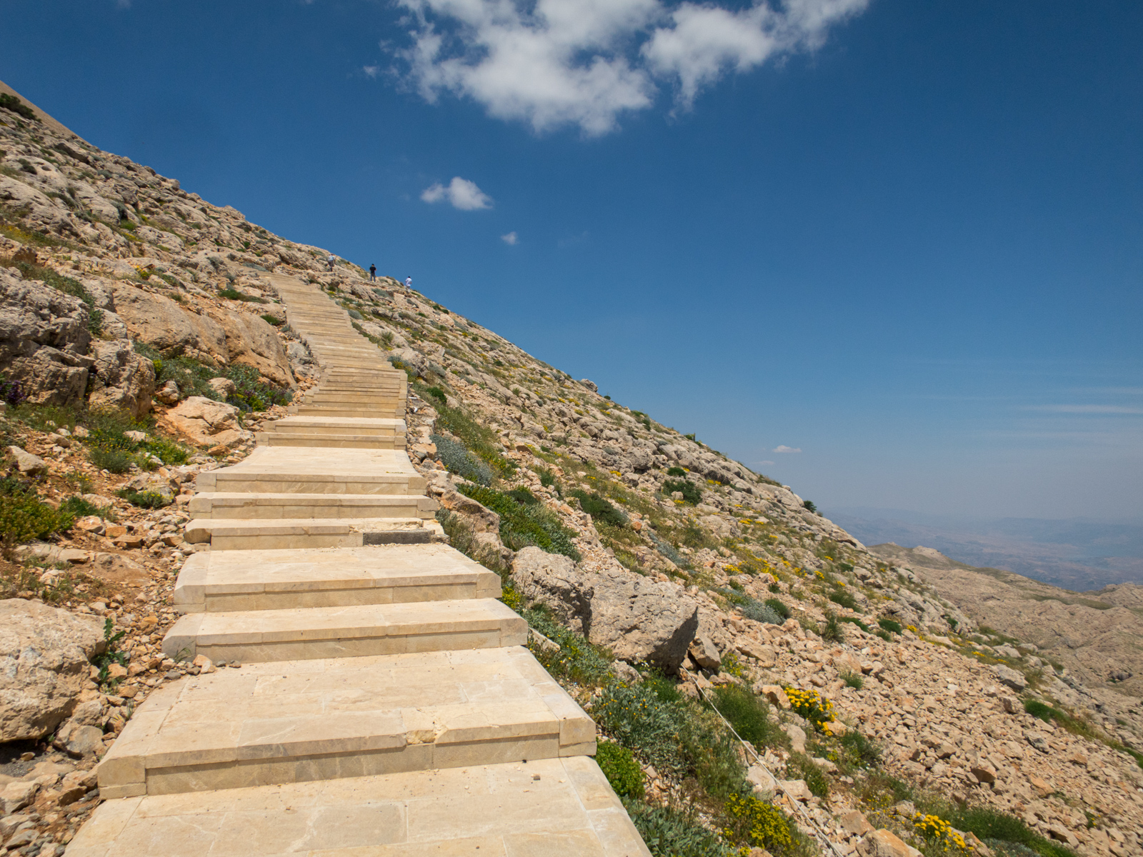 Stairs leading up Mount Nemrut