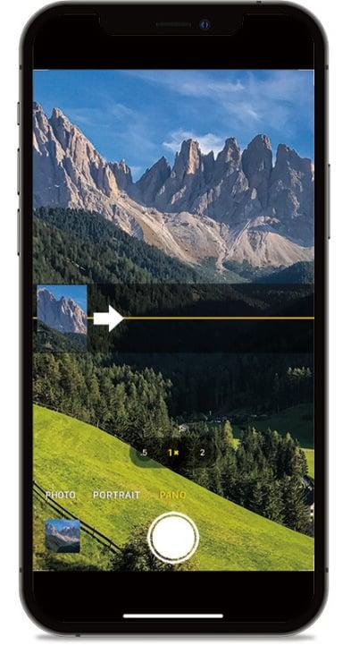 Panorama mode on iPhone