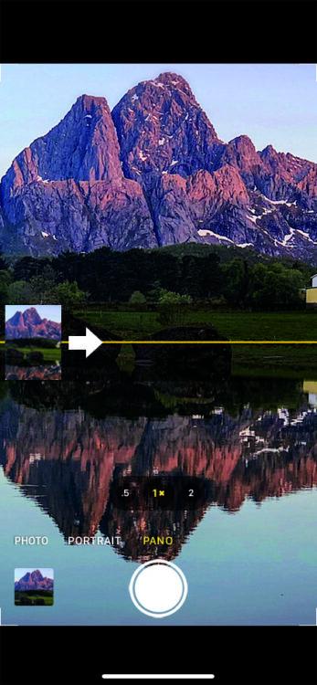 Panorama mode arrow