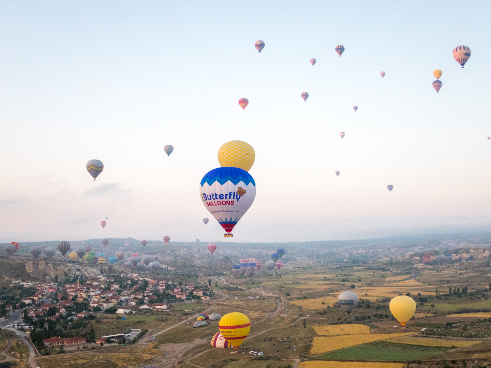 Balloons taking off in Cappadocia