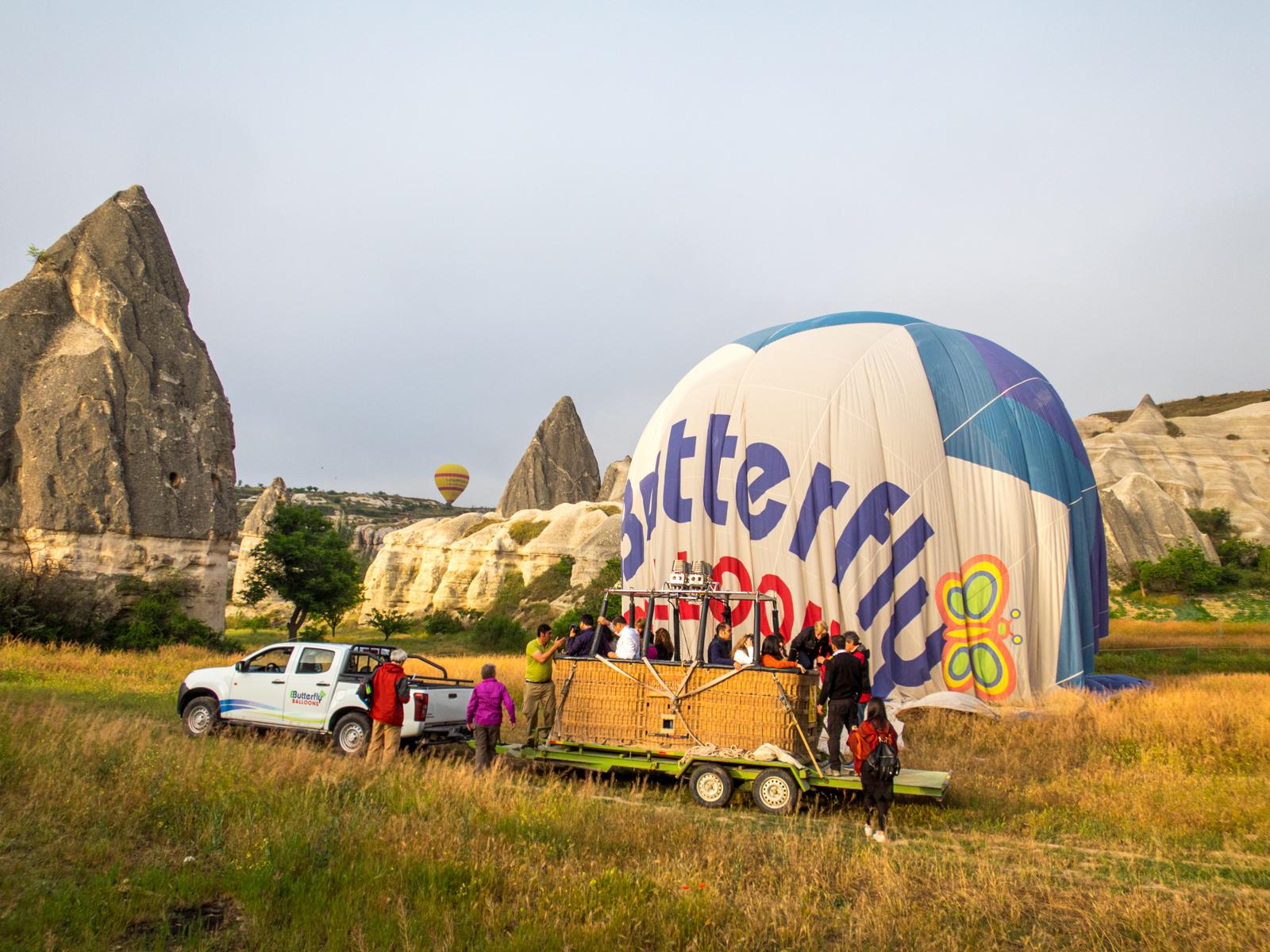 Passengers disembarking a balloon basket