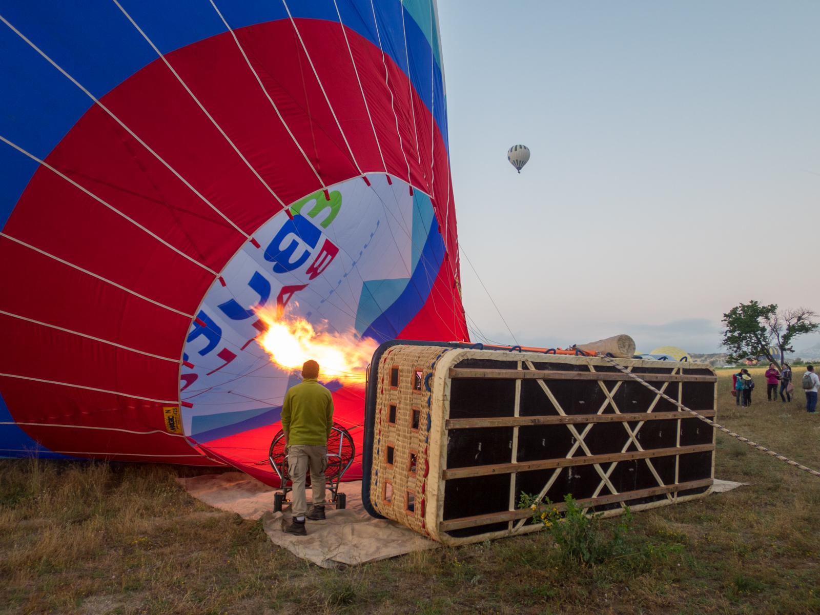 Prepping a hot air balloon