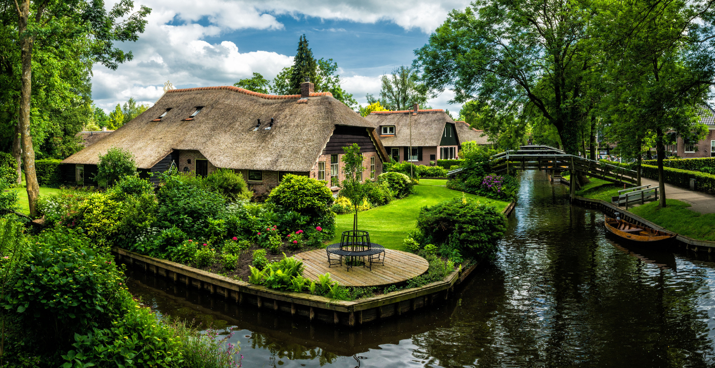 Giethoorn is one of several scenic villages in the Netherlands