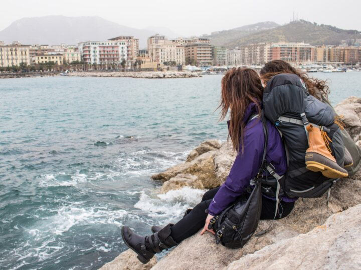 Backpackers in Salerno, Italy