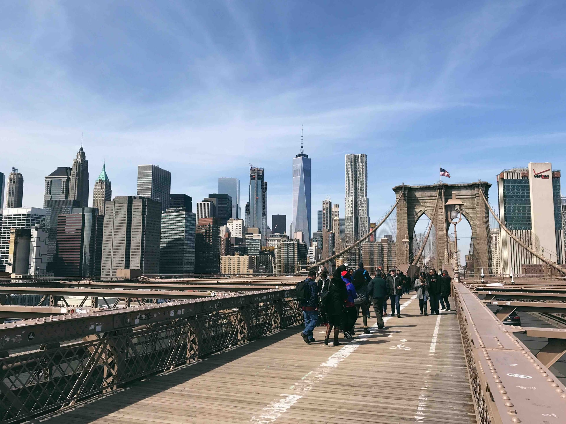 Uitzicht op Manhattan vanaf Brooklyn Bridge (foto: Ethan Bykerk)