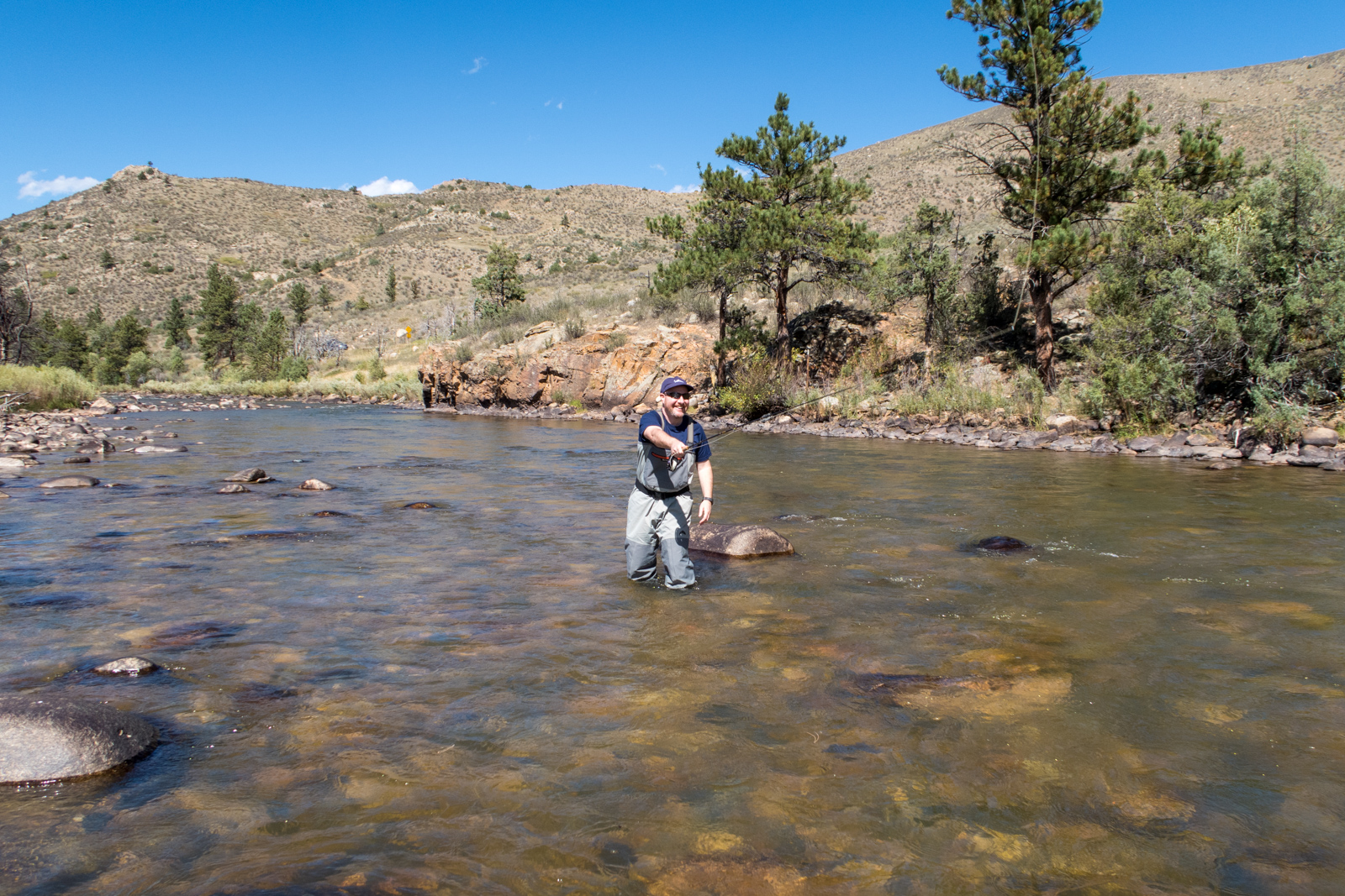 Dave learning to fly fish on Colorado's Poudre River