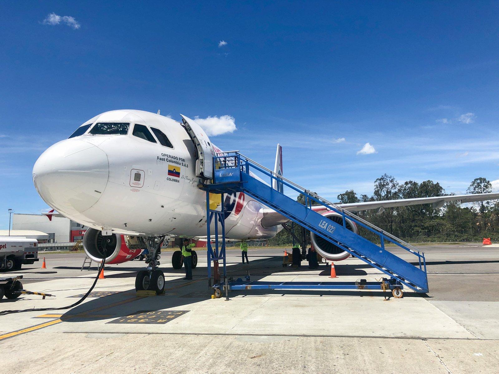 Viva plane on tarmac in Medellin