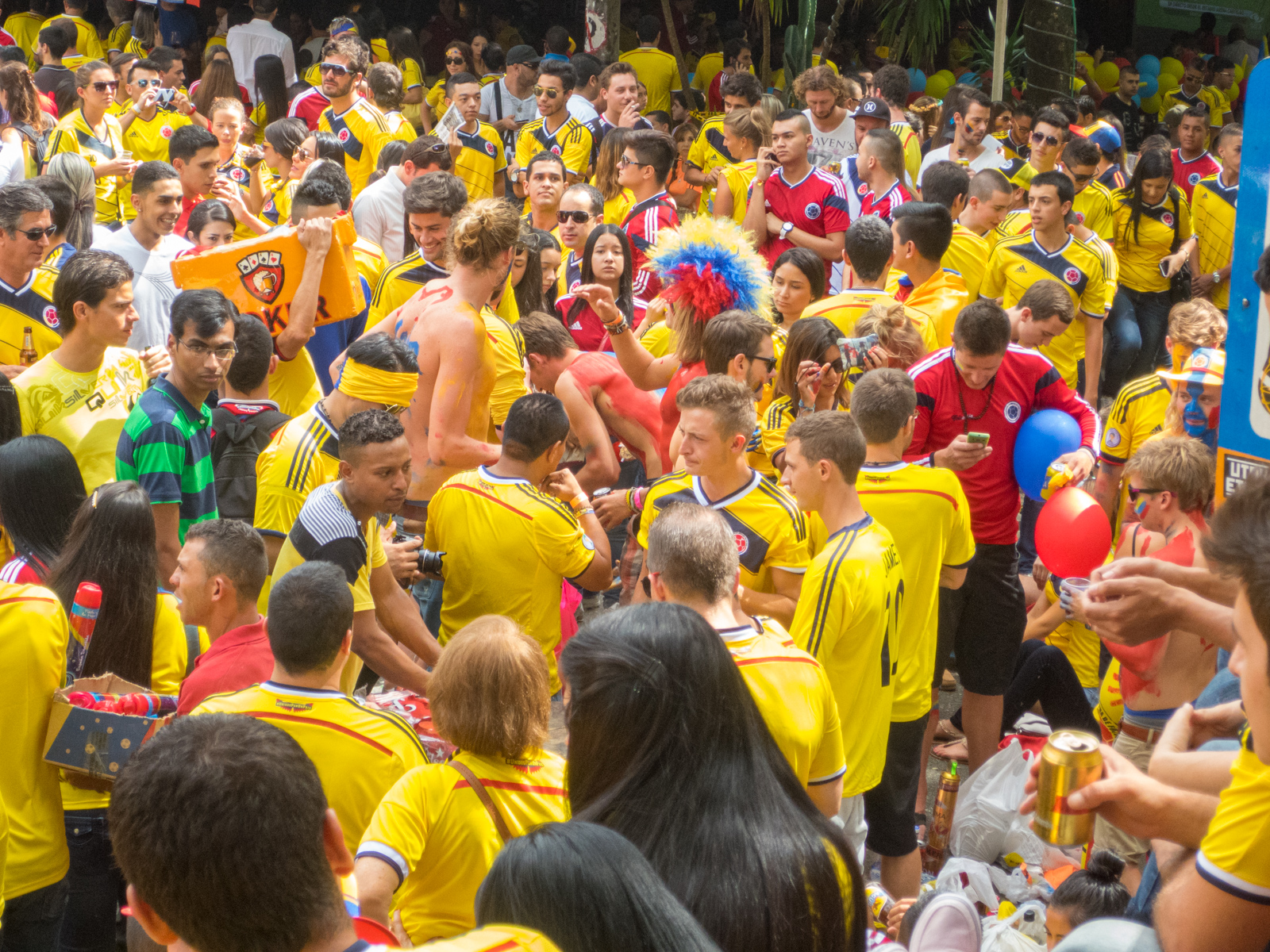 The crowd at a 2014 World Cup watch party in Parque Lleras, Medellin