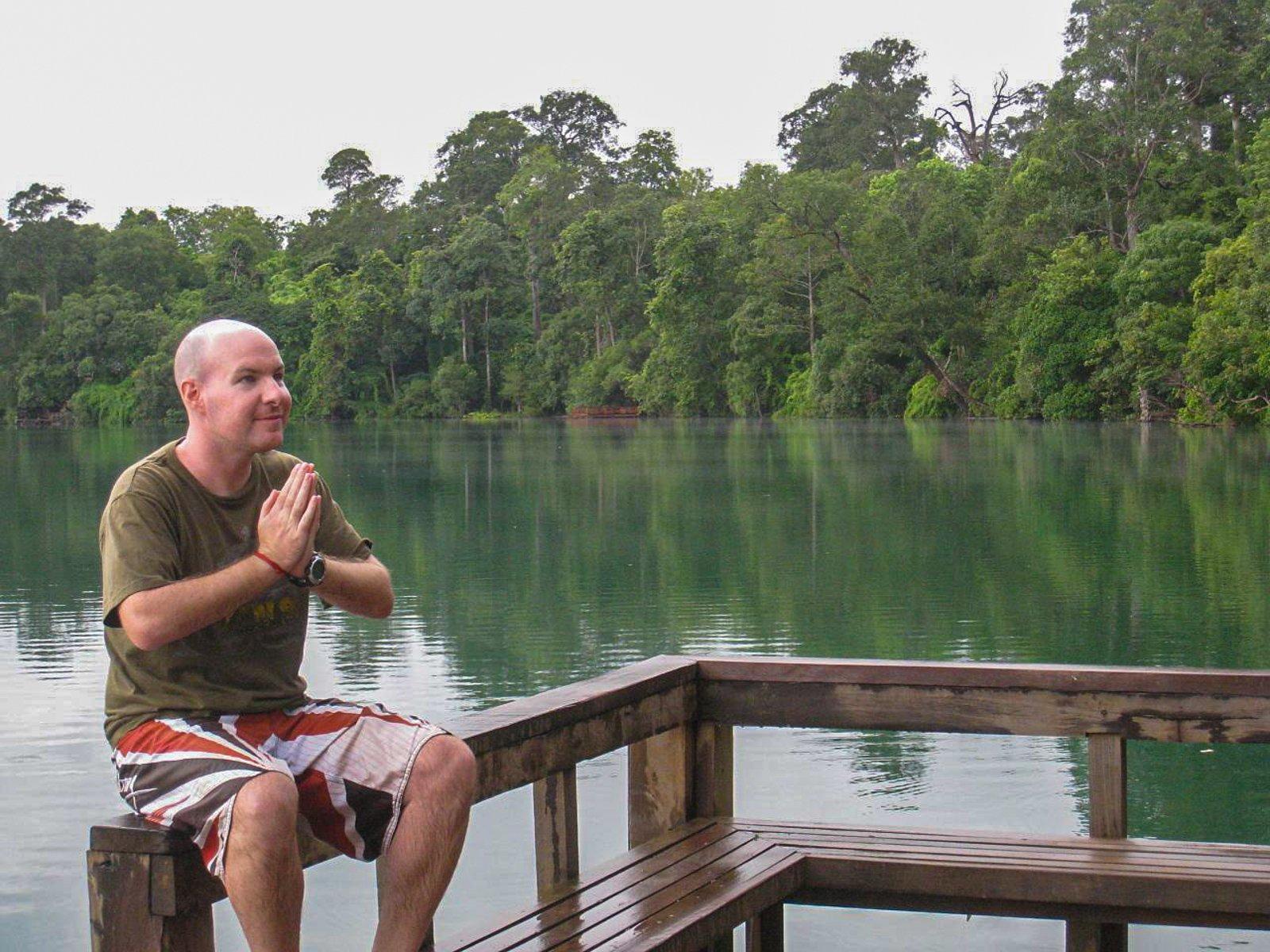 Enjoying the silence at a volcano crater lake
