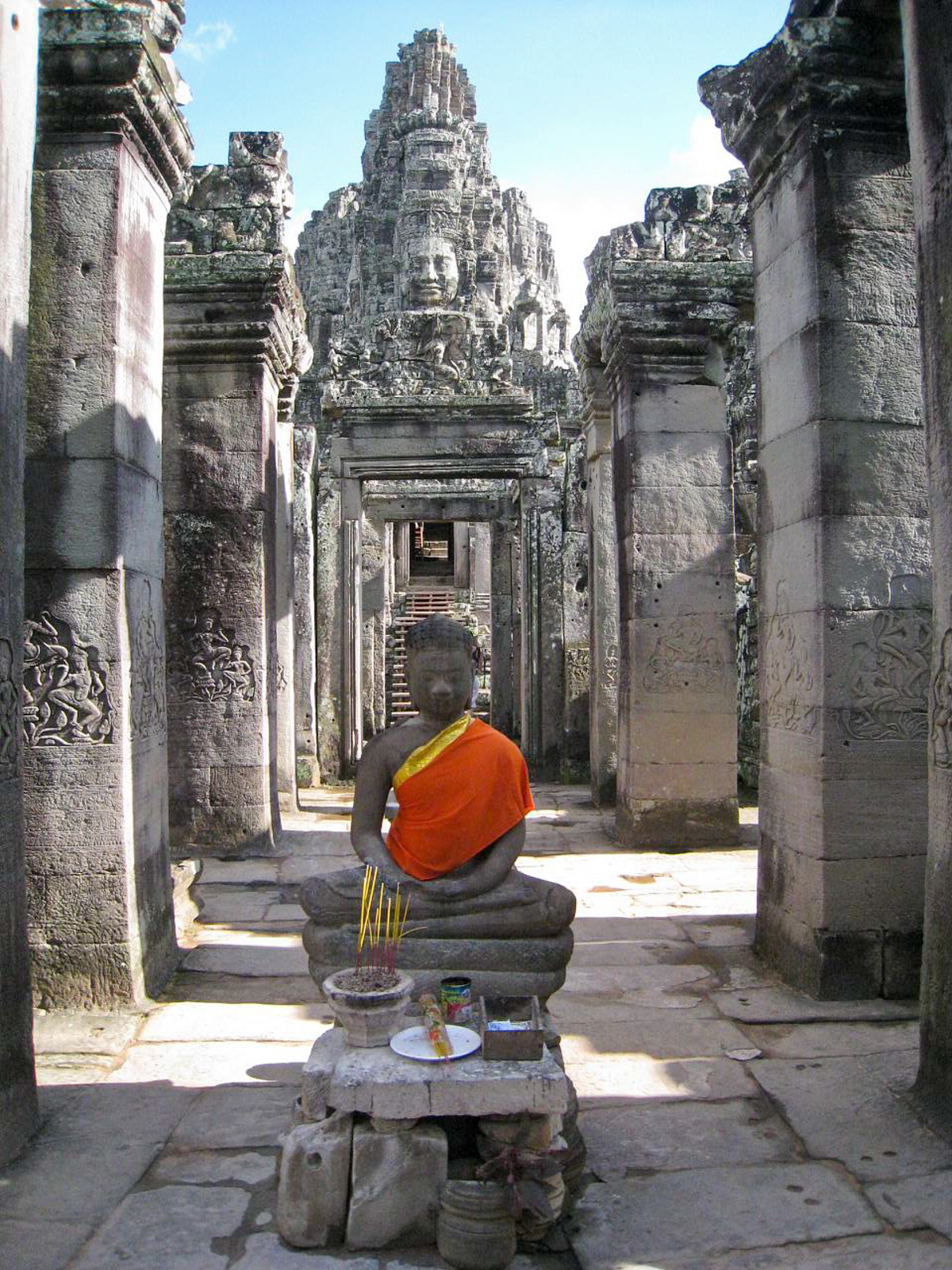 Offerings for Buddha at Bayon ruins in Cambodia