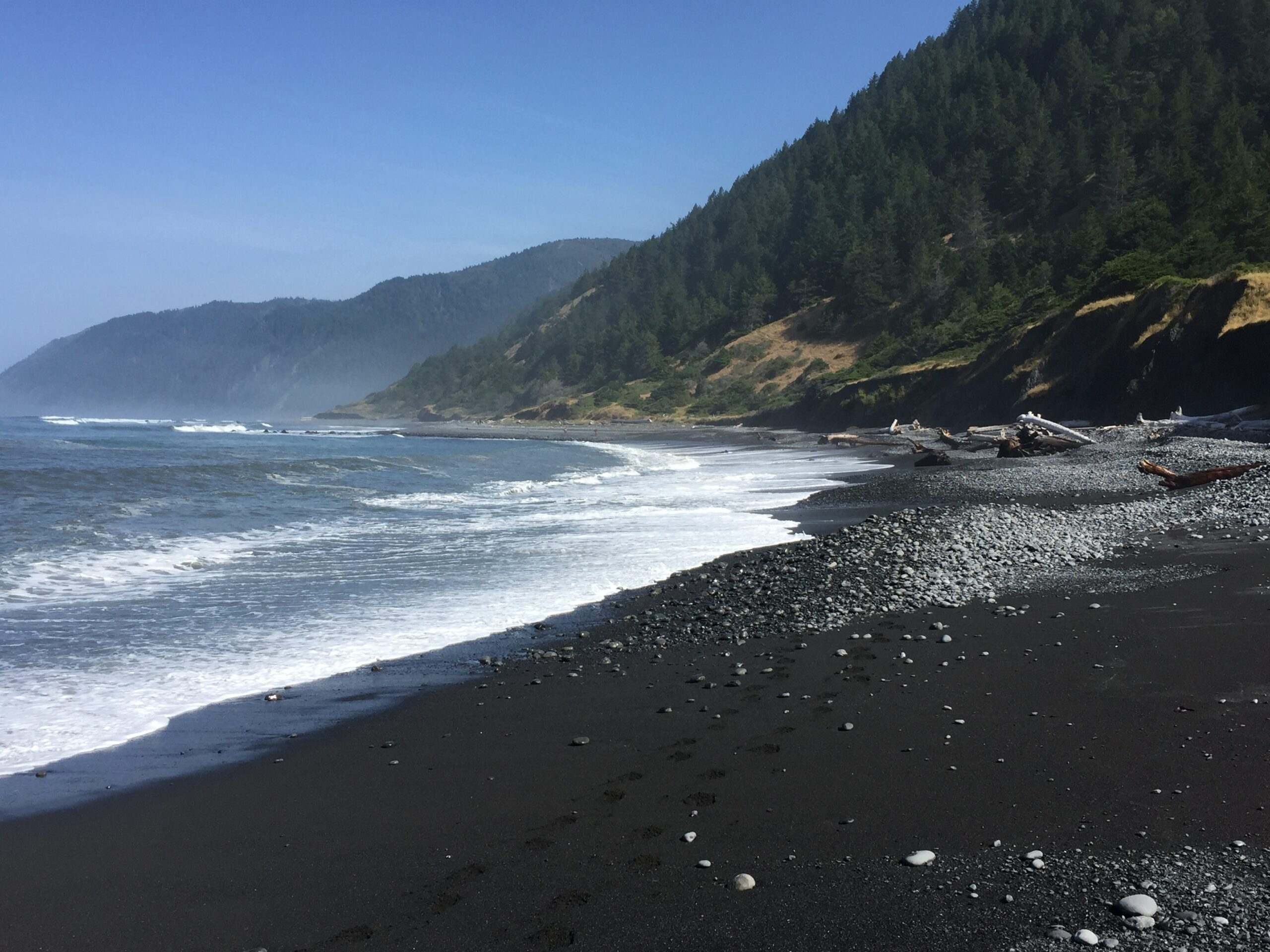 Black sand beach on the Lost Coast Trail